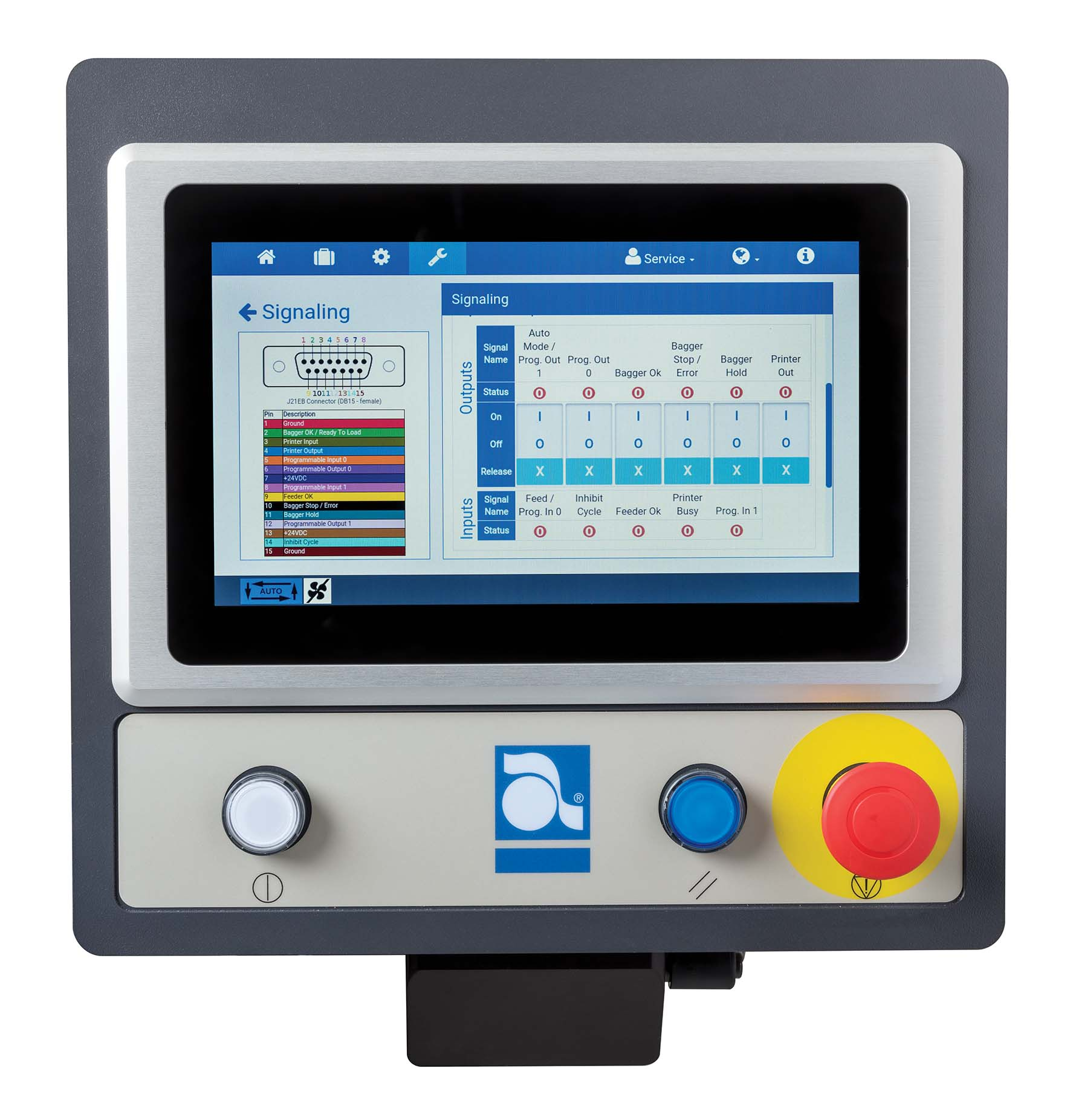 Autobag 600 verpakkingsmachine auto touch controlescherm signalling